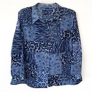 Susan Graver Animal Print Blouse Button Front Blue